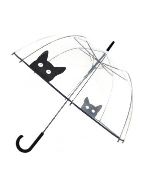 Smati parapluie long transparent cloche chat noir