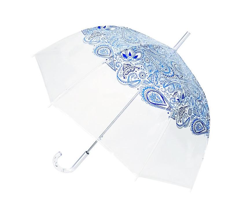 Smati parapluie long transparent automatique paisley bleu