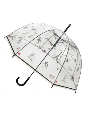 Smati parapluie long transparent symbole paris