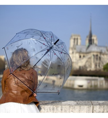 parapluie femme transparent cloche à motif Paris