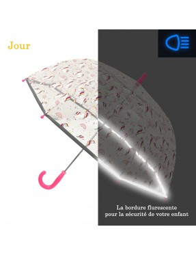 parapluie fille transparent licorne avec bordure fluorescente