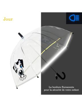 parapluie enfant chien avec bordure fluorescente