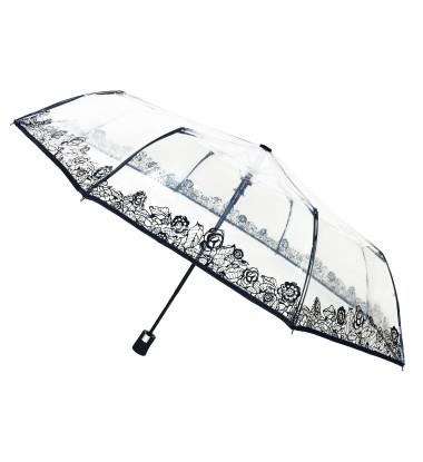 Smati petit parapluie transparent avec bordure florale