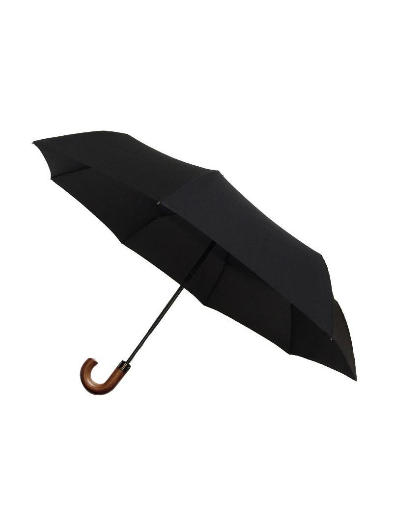 Smati parapluie pliable noir avec poignée en bois