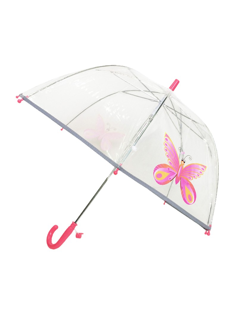 Smati parapluie transparent enfant papilllon rose