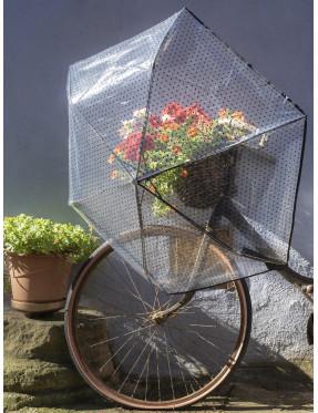 parapluie transparent manuel pliable à motif pois noirs