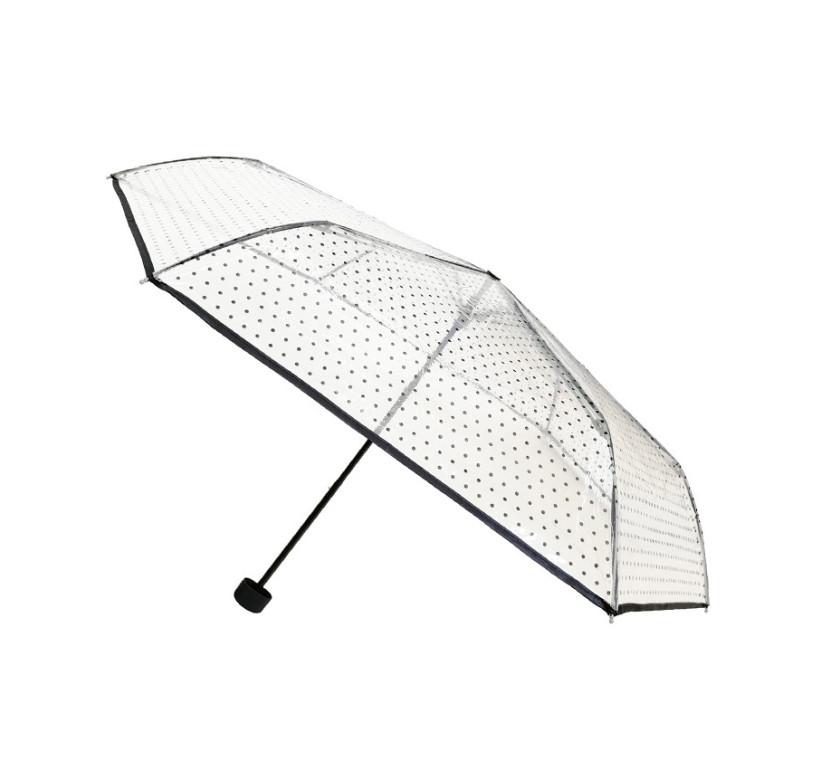 Smati mini parapluie transparent pliant aux pois