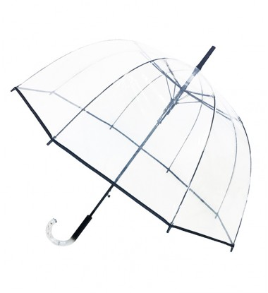 Smati parapluie long cloche transparent bordure noire