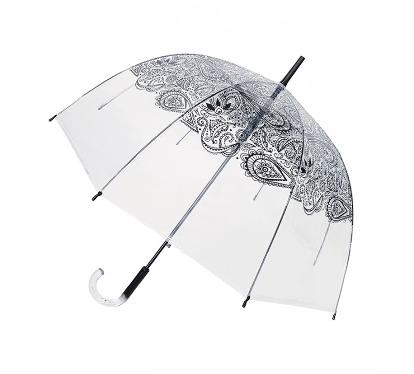 Smati parapluie long transparent automatique paisley noir